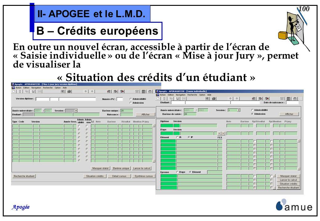 99 Apogée II- APOGEE et le L.M.D. B – Crédits européens Maquettage et édition des procès-verbaux, et les diverses attestations de réussite, avec la dé