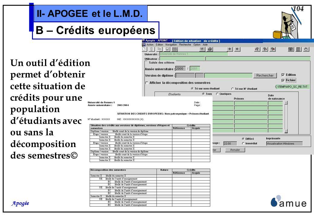 103 Apogée II- APOGEE et le L.M.D. B – Crédits européens Après choix dune ligne de ce premier bloc, le second se remplit de la même façon avec : si ch