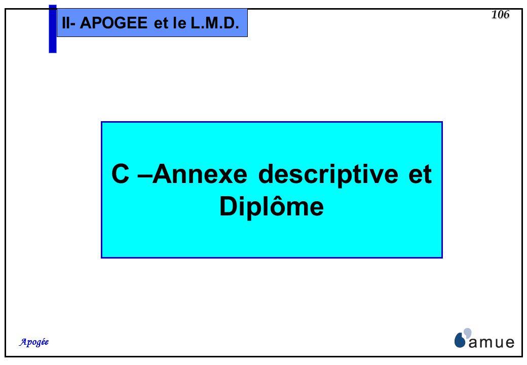 105 Apogée II- APOGEE et le L.M.D. B – PV collectif Ajout dun libellé modifiable pour adapter le titre des PV des diplômes intermédiaires (par exemple
