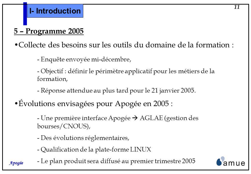 10 Apogée 4- Accompagnement Janvier 2004 : Lettre de lancement des travaux accompagnée dune description du périmètre fonctionnel, Février 2004 : Plan