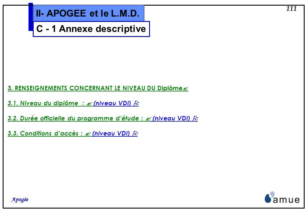 110 Apogée II- APOGEE et le L.M.D. 2. INFORMATIONS SUR LE DIPLOME 2.1. Intitulé du diplôme : (niveau VDI) 2.2. Principal/Principaux domaine(s) détude
