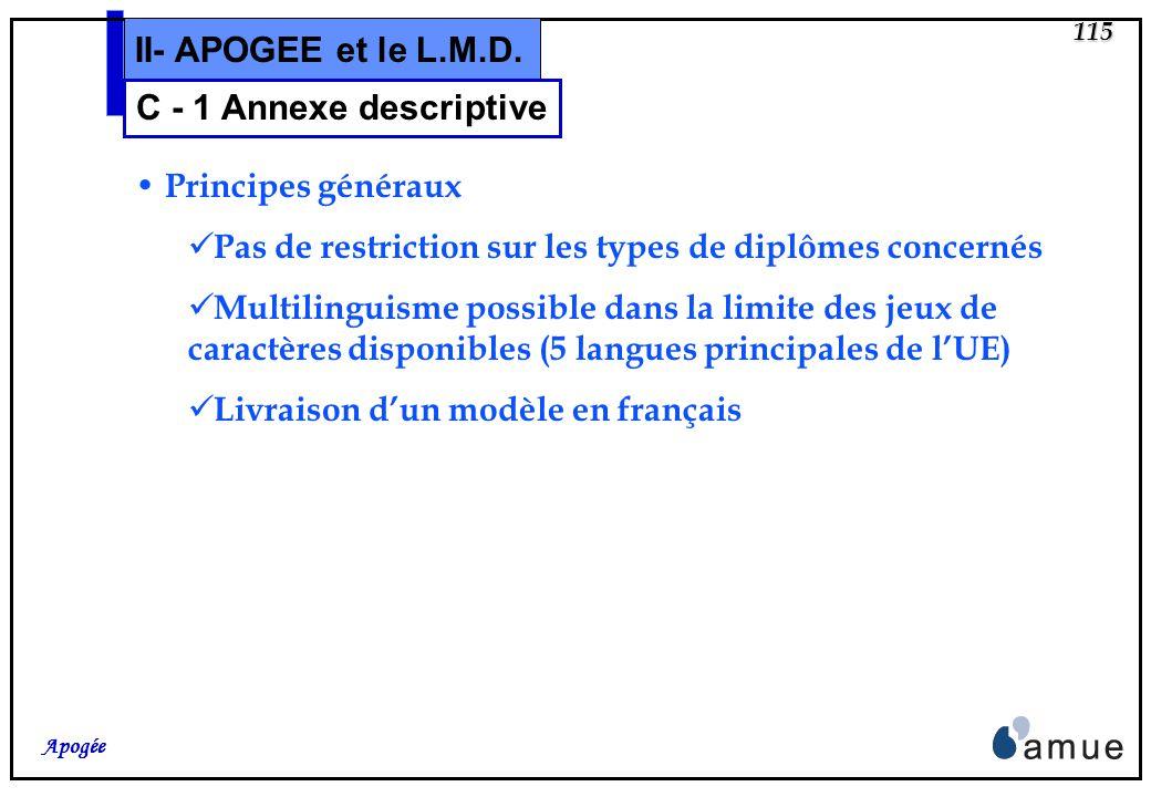 114 Apogée II- APOGEE et le L.M.D. 7. CERTIFICATION DE L ANNEXE DESCRIPTIVE 7.1. Date : renseign é à l é dition 7.2. Signature : (niveau VDI) 7.3. Qua