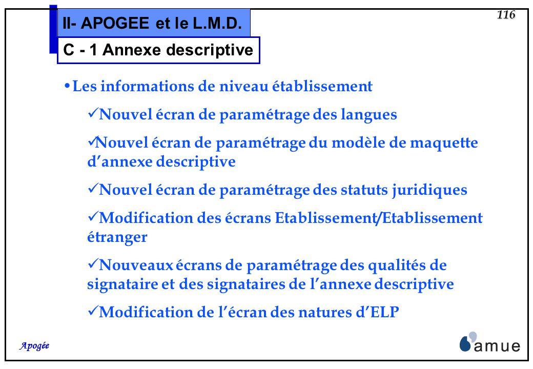 115 Apogée II- APOGEE et le L.M.D. Principes généraux Pas de restriction sur les types de diplômes concernés Multilinguisme possible dans la limite de
