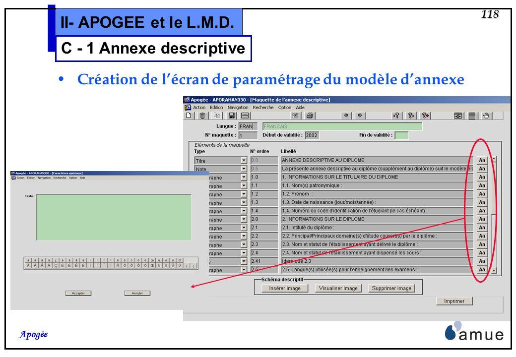 117 Apogée II- APOGEE et le L.M.D. Création de lécran de paramétrage des langues C - 1 Annexe descriptive Une nouvelle variable applicative désignera