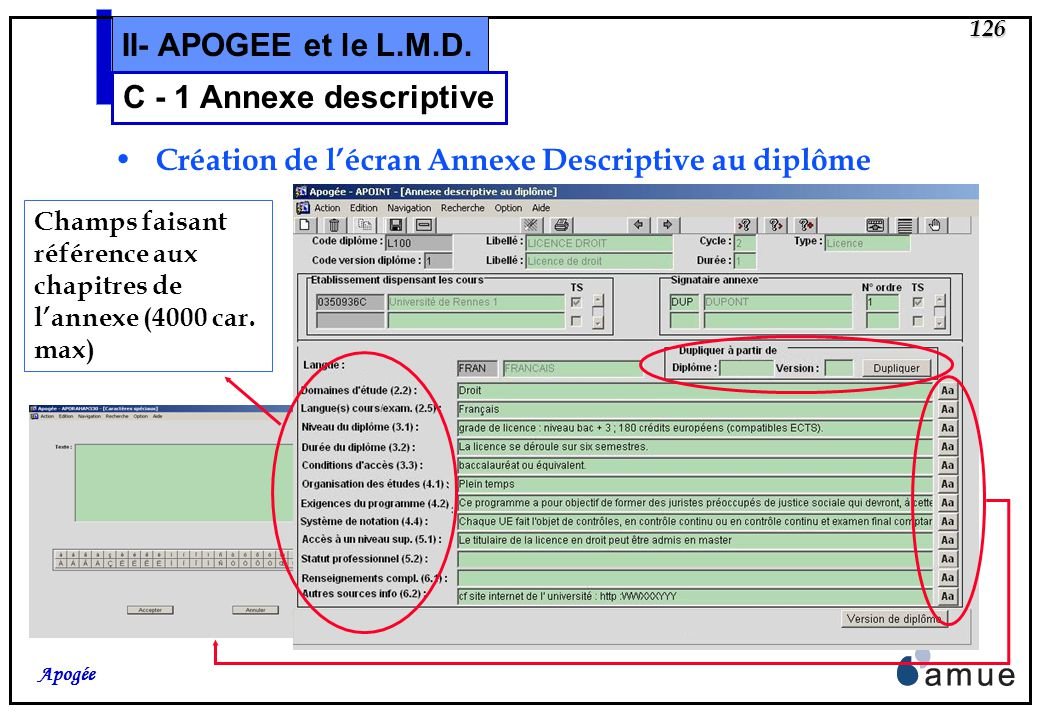 125 Apogée II- APOGEE et le L.M.D. Les informations de niveau version de diplôme ou ELP Nouvel écran de modélisation de lannexe descriptive dune versi