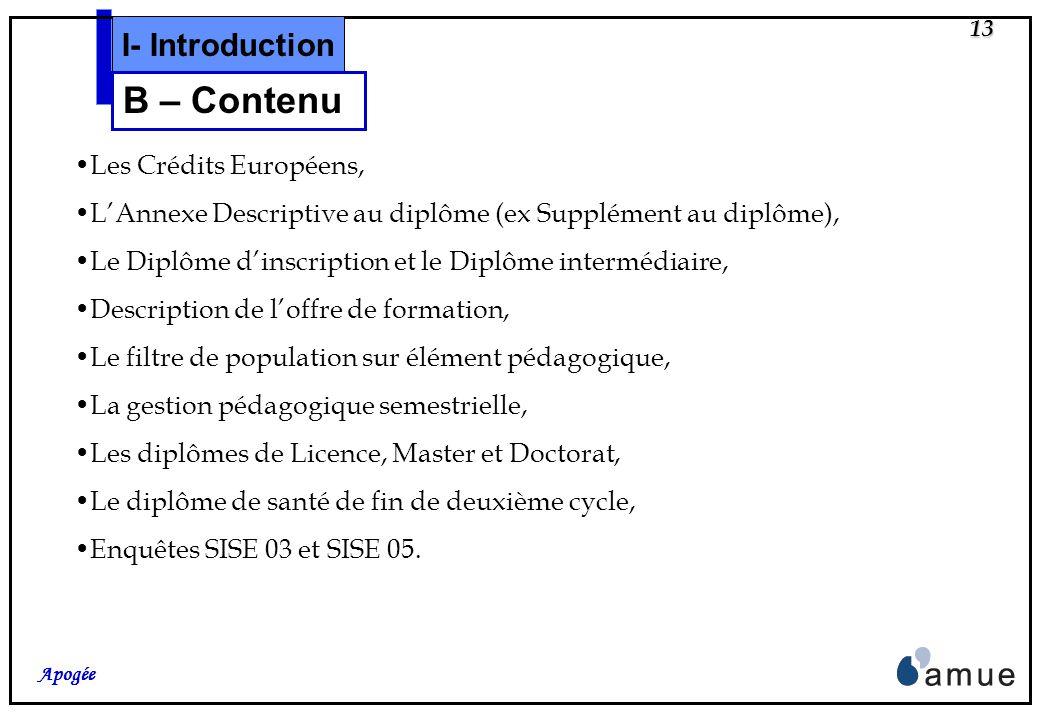 12 Apogée I- Introduction B – Contenu