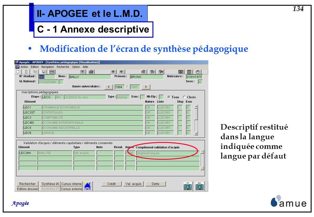 133 Apogée II- APOGEE et le L.M.D. Modification de lécran Validation dacquis 6.1. Renseignements complémentaires : (niveau étudiant) C - 1 Annexe desc