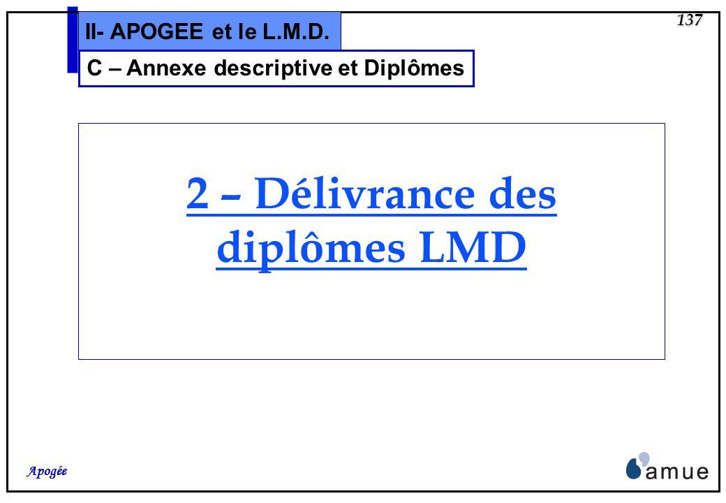 136 Apogée II- APOGEE et le L.M.D. Création de lécran dédition de lannexe descriptive Le numéro dannexe apparaît si elle a déjà été éditée au moins un