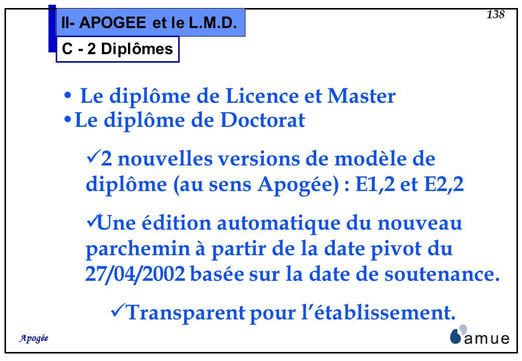 137 Apogée II- APOGEE et le L.M.D. C – Annexe descriptive et Diplômes 2 – Délivrance des diplômes LMD