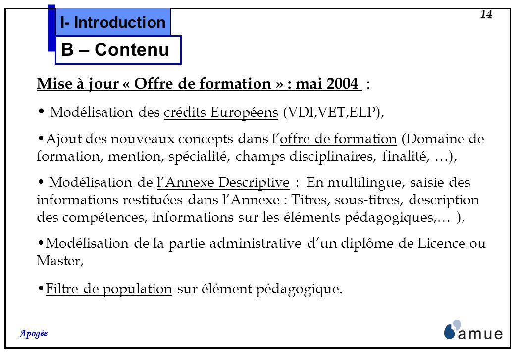 13 Apogée Les Crédits Européens, LAnnexe Descriptive au diplôme (ex Supplément au diplôme), Le Diplôme dinscription et le Diplôme intermédiaire, Descr