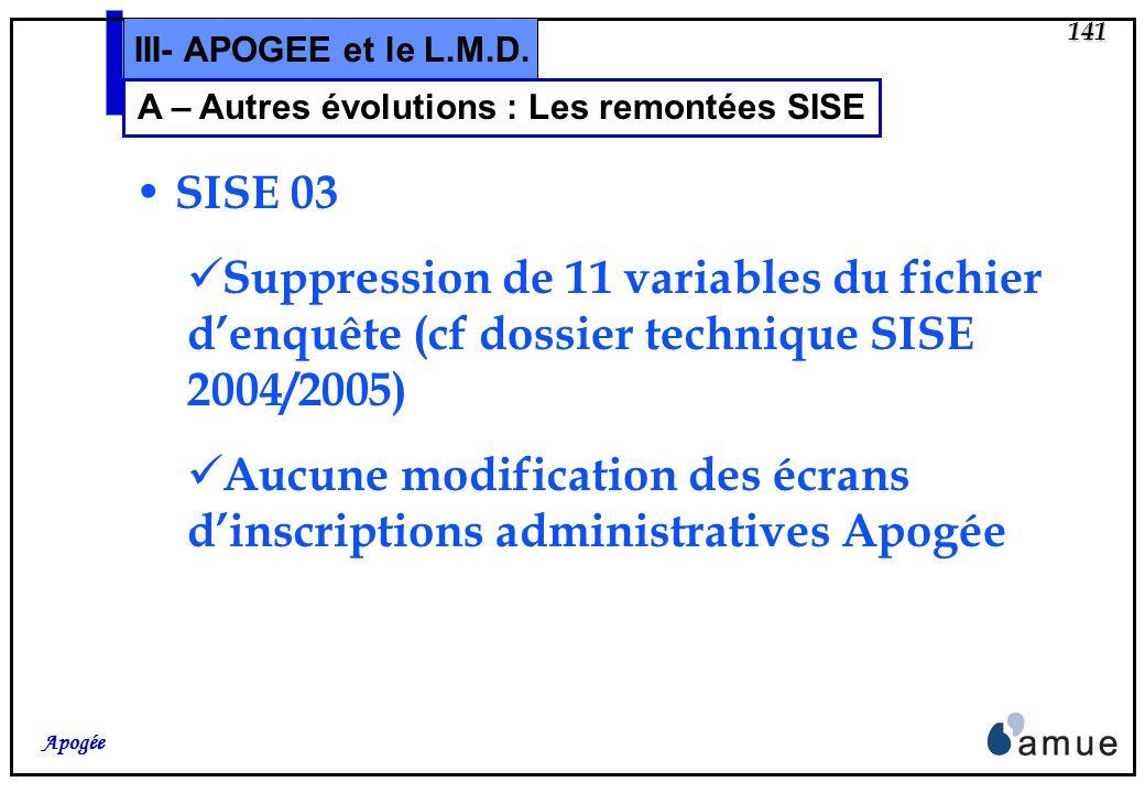 140 Apogée III - Autres évolutions A.Remontées SISE B.Diplômes de fin de 2ème cycle de santé