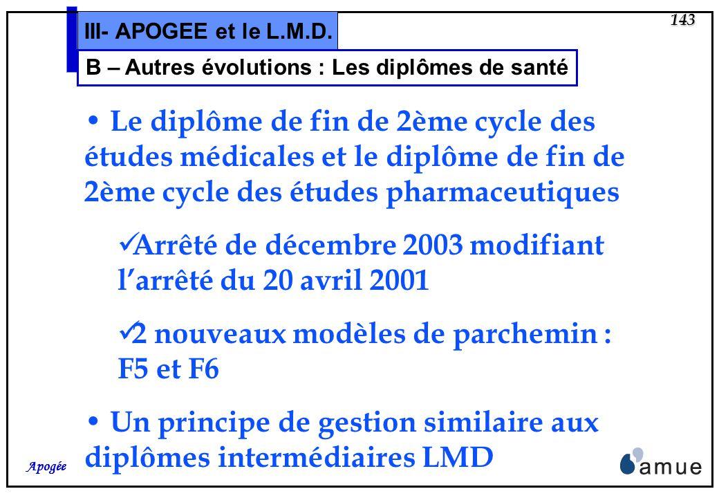 142 Apogée III- APOGEE et le L.M.D. A – Autres évolutions : Les remontées SISE SISE 05 Ajout dans le fichier denquête de la variable NUMINS : code de