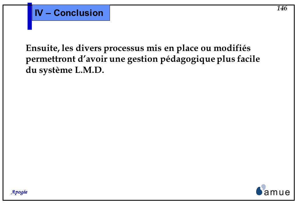 145 Apogée IV – Conclusion Pour terminer, quelques indications sur un « calendrier » de travail, en se limitant au cadre L.M.D.. Mettre à jour le Réfé
