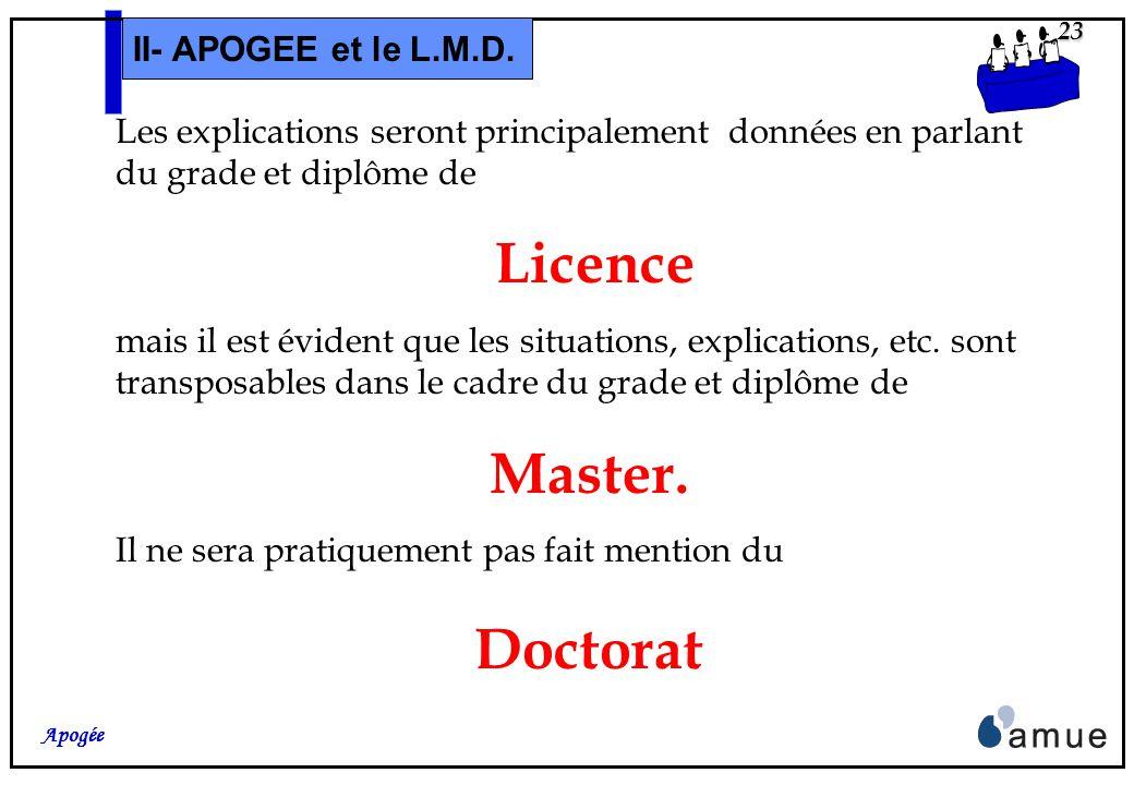 22 Apogée II- APOGEE et le L.M.D. Dernière remarque : Ce séminaire nétant pas réellement une « formation à loutil », les écrans liés aux différents ob