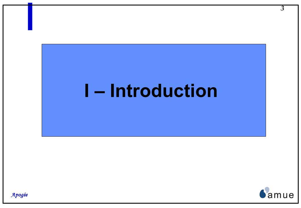 2 Apogée Plan I – Introduction : la Version « L.M.D. 2004 » Historique, démarche et planning Contenu II – Apogée et le L.M.D. A– Concepts et Modélisat