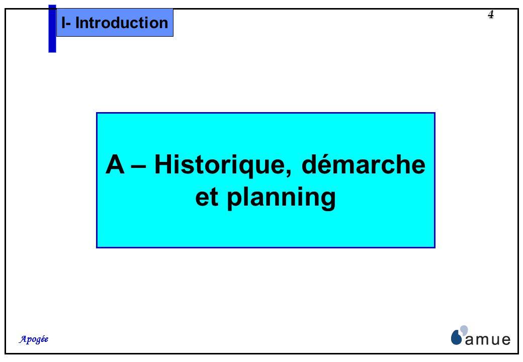 4 Apogée I- Introduction A – Historique, démarche et planning
