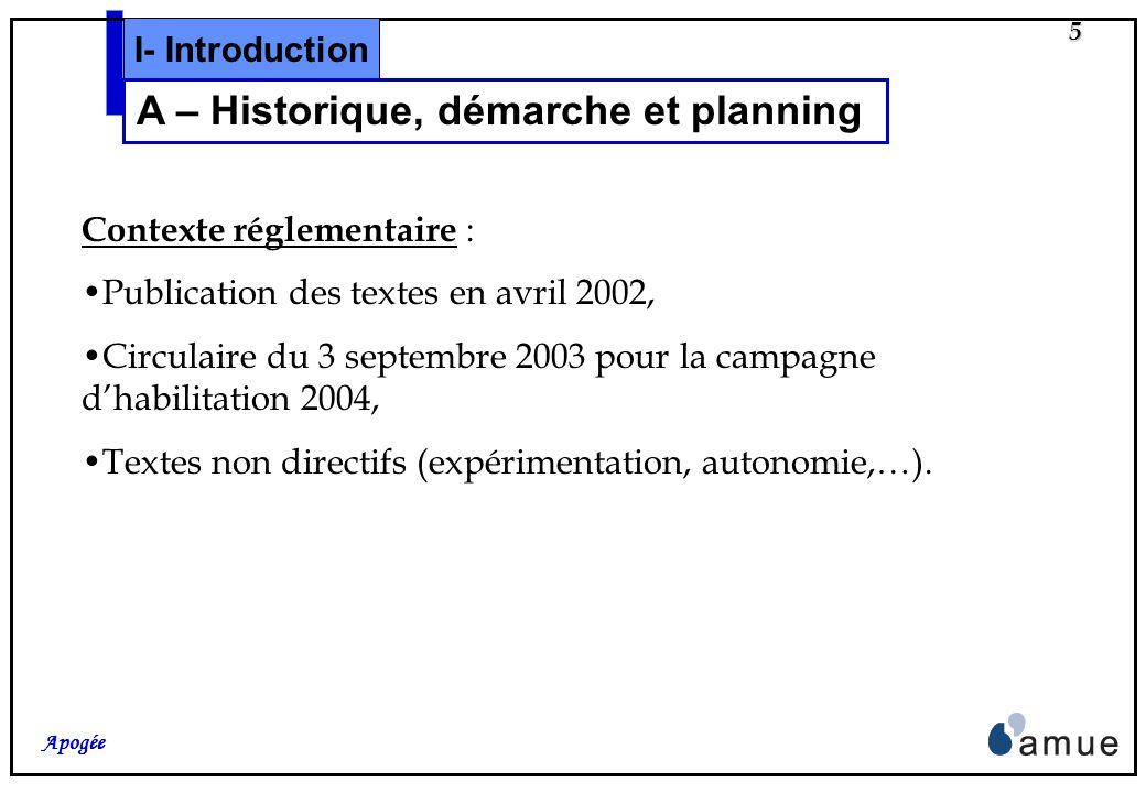 5 Apogée Contexte réglementaire : Publication des textes en avril 2002, Circulaire du 3 septembre 2003 pour la campagne dhabilitation 2004, Textes non directifs (expérimentation, autonomie,…).