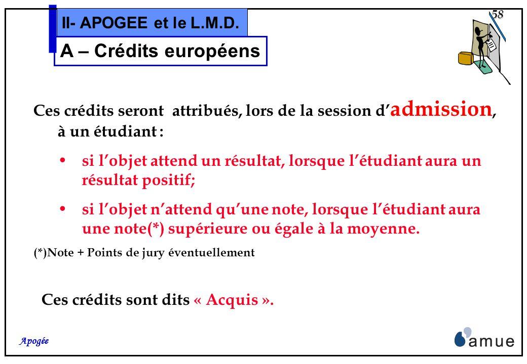 57 Apogée II- APOGEE et le L.M.D. A – Crédits européens Tous les objets des S.E. ( VDI, VET, ELP) peuvent être « porteurs » de Crédits Européens. Le n