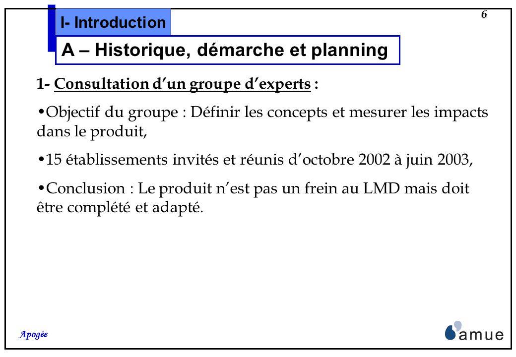 6 Apogée 1- Consultation dun groupe dexperts : Objectif du groupe : Définir les concepts et mesurer les impacts dans le produit, 15 établissements invités et réunis doctobre 2002 à juin 2003, Conclusion : Le produit nest pas un frein au LMD mais doit être complété et adapté.