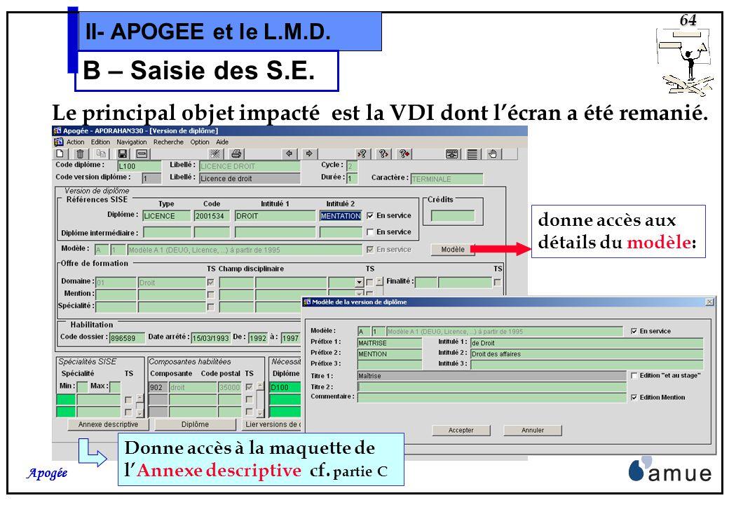 63 Apogée II- APOGEE et le L.M.D. B – Saisie des S.E. Lobjet Diplôme intègre la notion de Domaine de formation