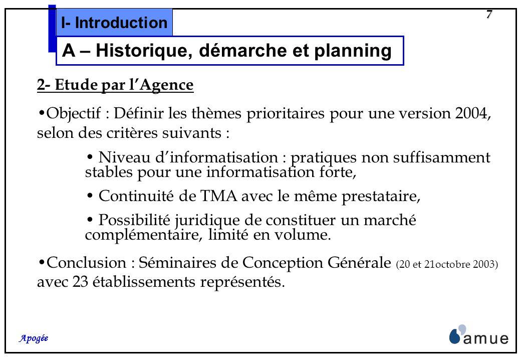 7 Apogée 2- Etude par lAgence Objectif : Définir les thèmes prioritaires pour une version 2004, selon des critères suivants : Niveau dinformatisation : pratiques non suffisamment stables pour une informatisation forte, Continuité de TMA avec le même prestataire, Possibilité juridique de constituer un marché complémentaire, limité en volume.