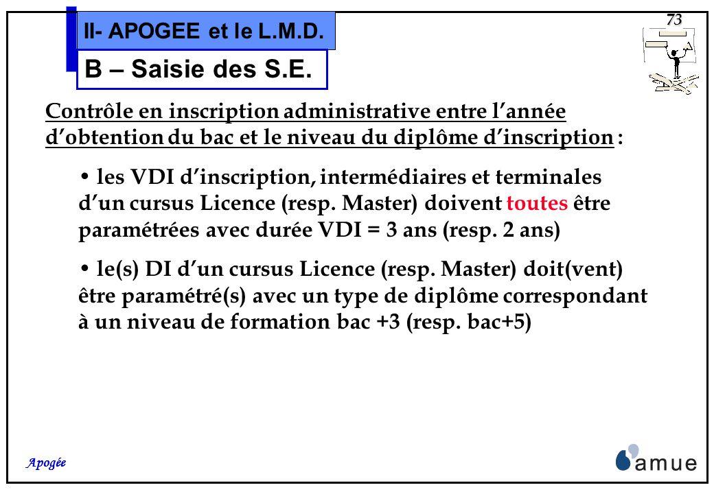 72 Apogée II- APOGEE et le L.M.D. Pour information, les traitements dApogée tels que les éditions des tableaux de bord du domaine IA, lextraction de l