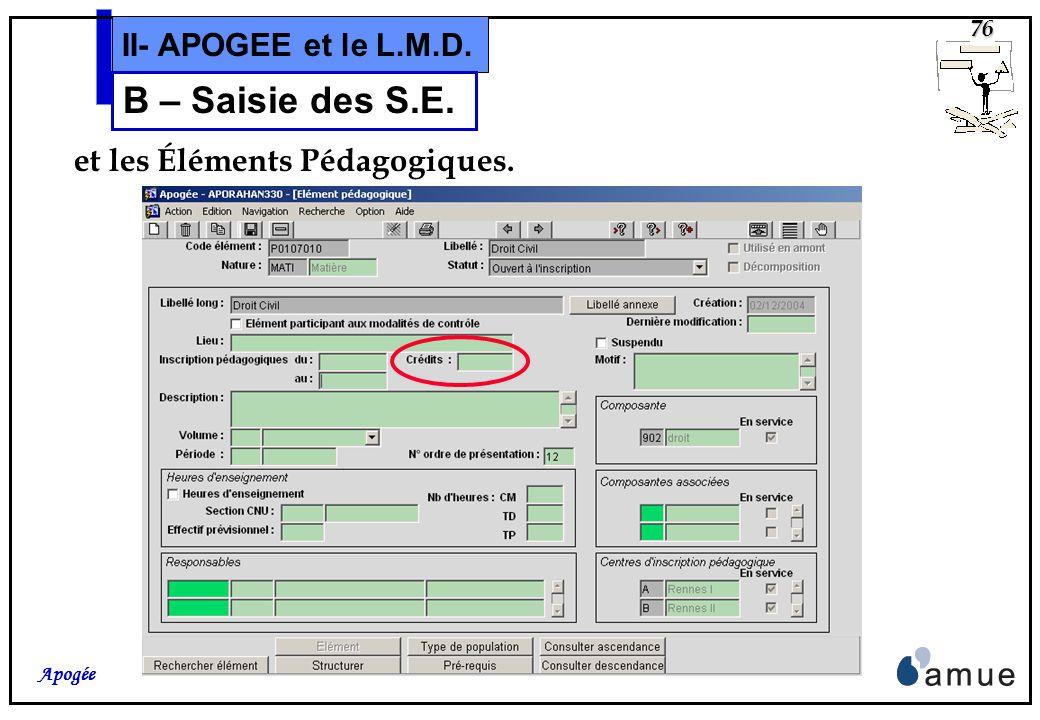 75 Apogée II- APOGEE et le L.M.D. B – Saisie des S.E. On peut également saisir une valeur de crédits pour les VET,