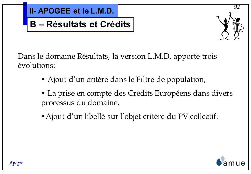 91 Apogée II- APOGEE et le L.M.D. B – Utilisation et Gestion Résultats et Crédits CrEur E U R O P E CrEur