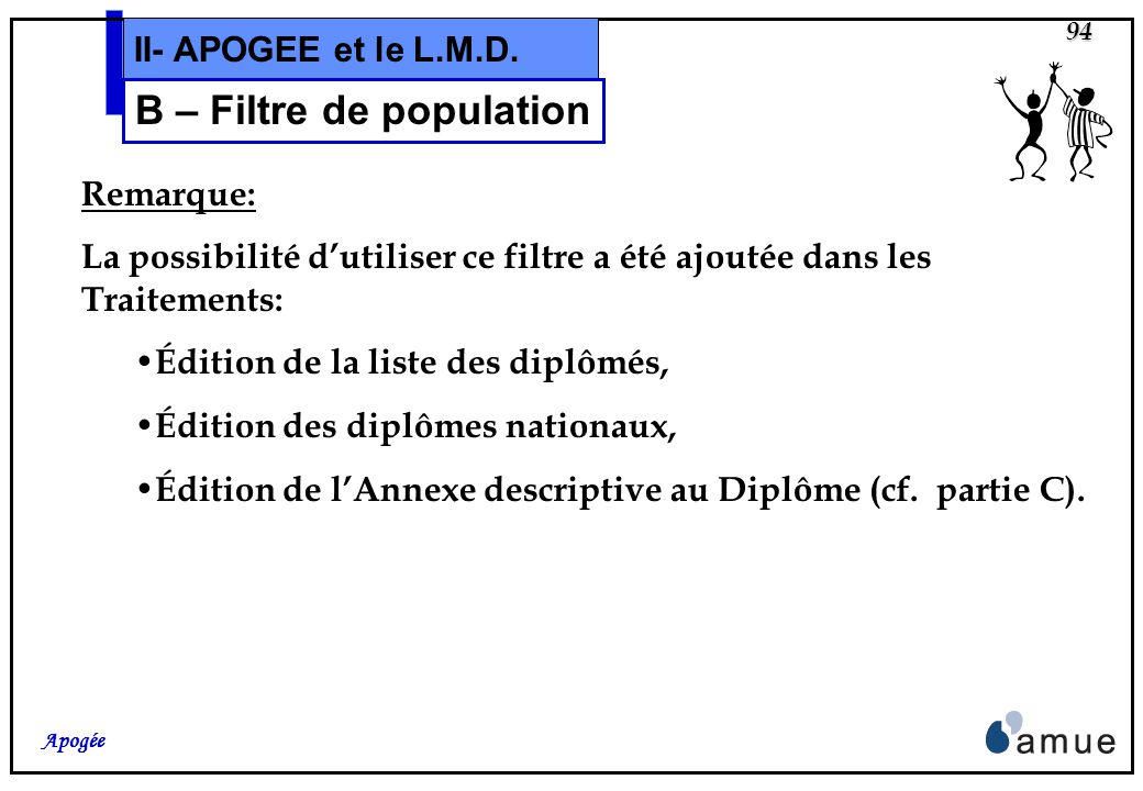 93 Apogée II- APOGEE et le L.M.D. B – Filtre de population Le critère « Élément pédagogique »est ajouté au filtre de population. Cet ELP sera par défa