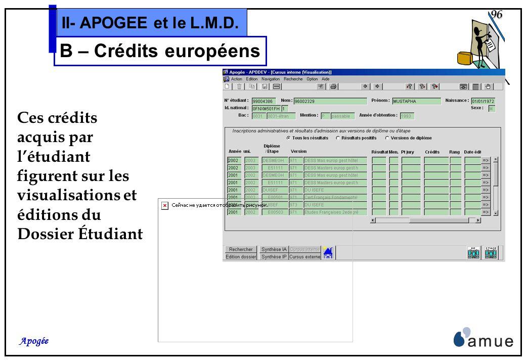 95 Apogée II- APOGEE et le L.M.D. B – Crédits européens Rappel: Les valeurs de Crédits, données dans la S.E. pour un objet, et pré-attribués lors des