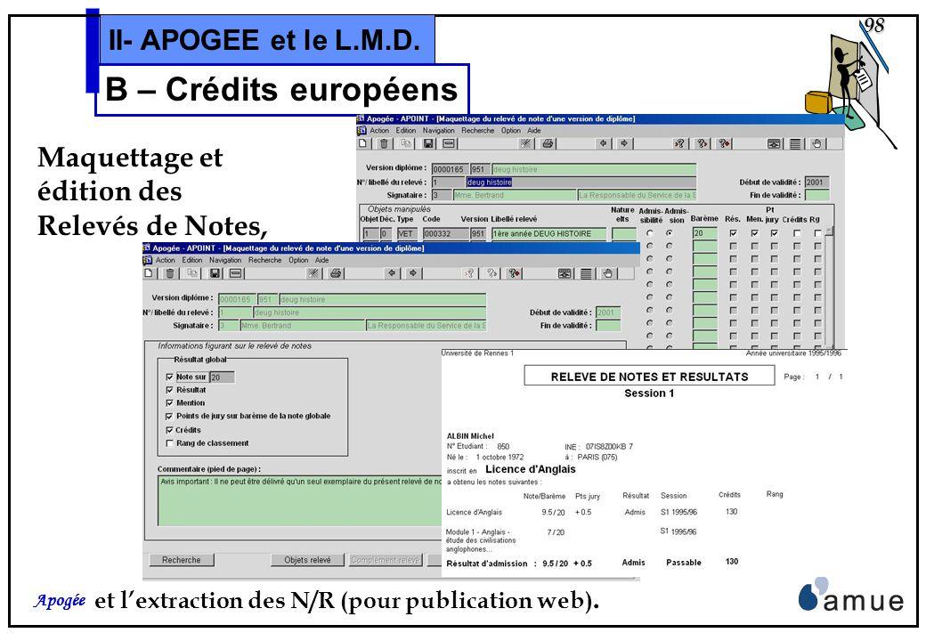 97 Apogée II- APOGEE et le L.M.D. B – Crédits européens et du domaine Résultats: Synthèse ou Détail du cursus,