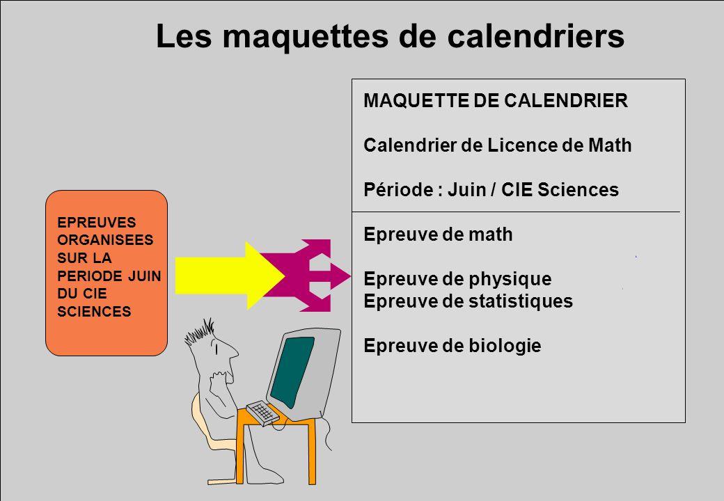 Les maquettes de calendriers MAQUETTE DE CALENDRIER Calendrier de Licence de Math Période : Juin / CIE Sciences Epreuve de math Epreuve de physique Epreuve de statistiques Epreuve de biologie EPREUVES ORGANISEES SUR LA PERIODE JUIN DU CIE SCIENCES
