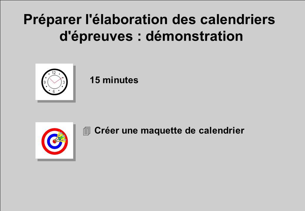 Préparer l élaboration des calendriers d épreuves : démonstration 12 6 3 9 15 minutes 4Créer une maquette de calendrier