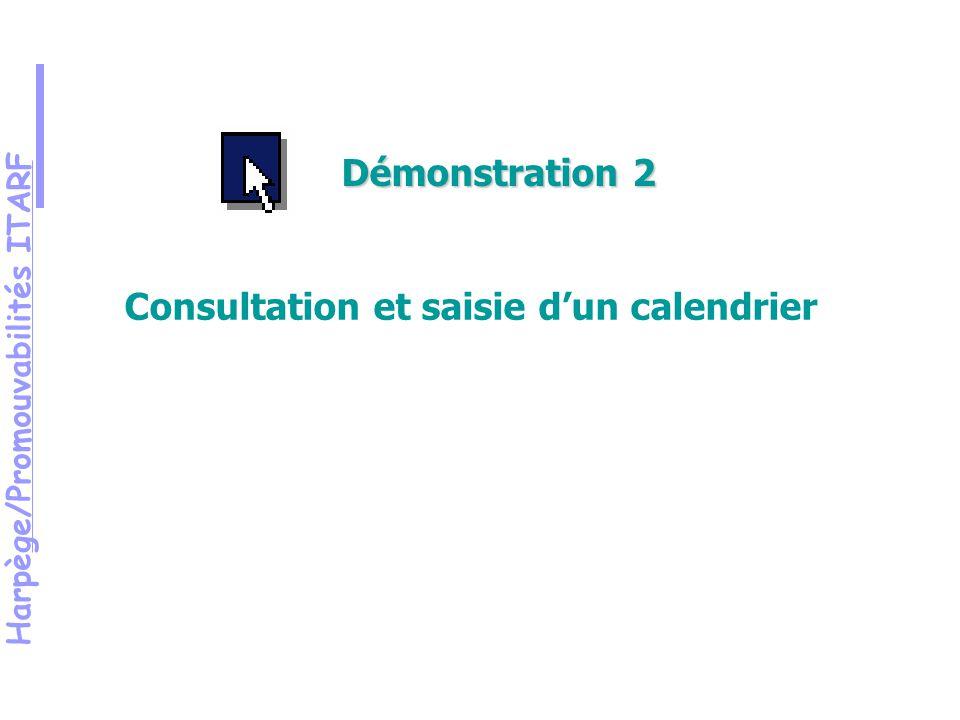 Harpège/Promouvabilités ITARF Démonstration 2 Consultation et saisie dun calendrier