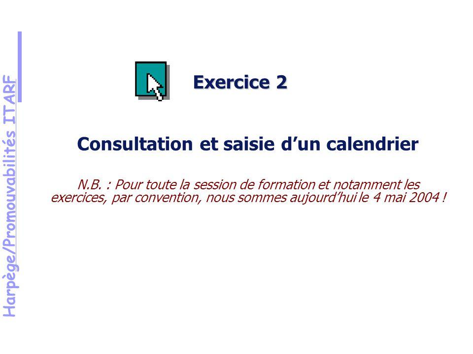 Harpège/Promouvabilités ITARF Exercice 2 Consultation et saisie dun calendrier N.B.