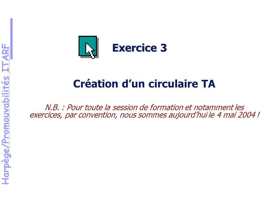 Harpège/Promouvabilités ITARF Exercice 3 Création dun circulaire TA N.B.