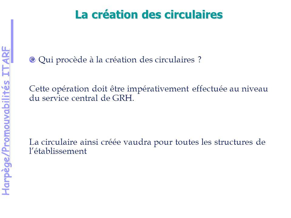 Harpège/Promouvabilités ITARF Qui procède à la création des circulaires .