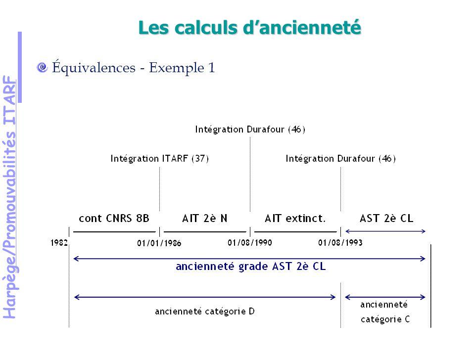 Harpège/Promouvabilités ITARF Équivalences - Exemple 1 Les calculs dancienneté