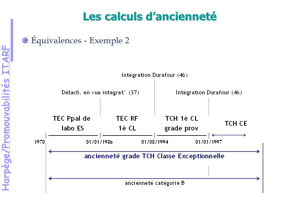 Harpège/Promouvabilités ITARF Équivalences - Exemple 2 Les calculs dancienneté
