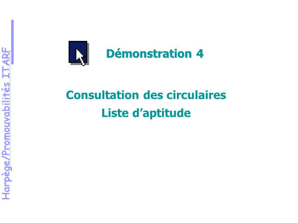 Harpège/Promouvabilités ITARF Démonstration 4 Consultation des circulaires Liste daptitude