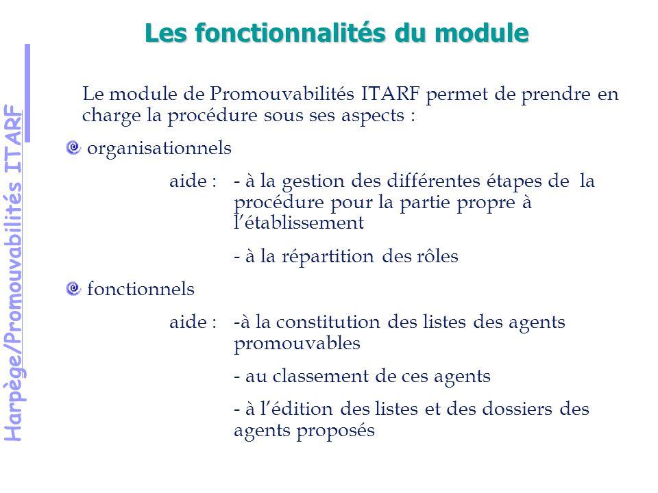 Harpège/Promouvabilités ITARF Le module de Promouvabilités ITARF permet de prendre en charge la procédure sous ses aspects : organisationnels aide :- à la gestion des différentes étapes de la procédure pour la partie propre à létablissement - à la répartition des rôles fonctionnels aide : -à la constitution des listes des agents promouvables - au classement de ces agents - à lédition des listes et des dossiers des agents proposés Les fonctionnalités du module