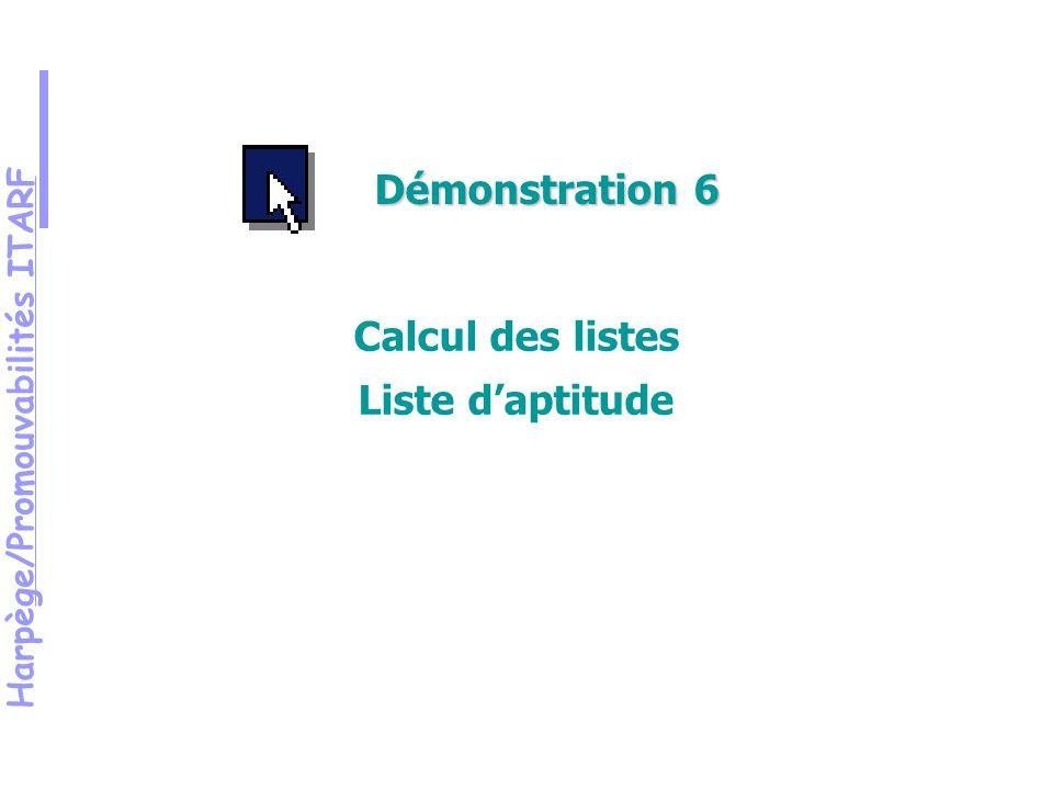 Harpège/Promouvabilités ITARF Démonstration 6 Calcul des listes Liste daptitude