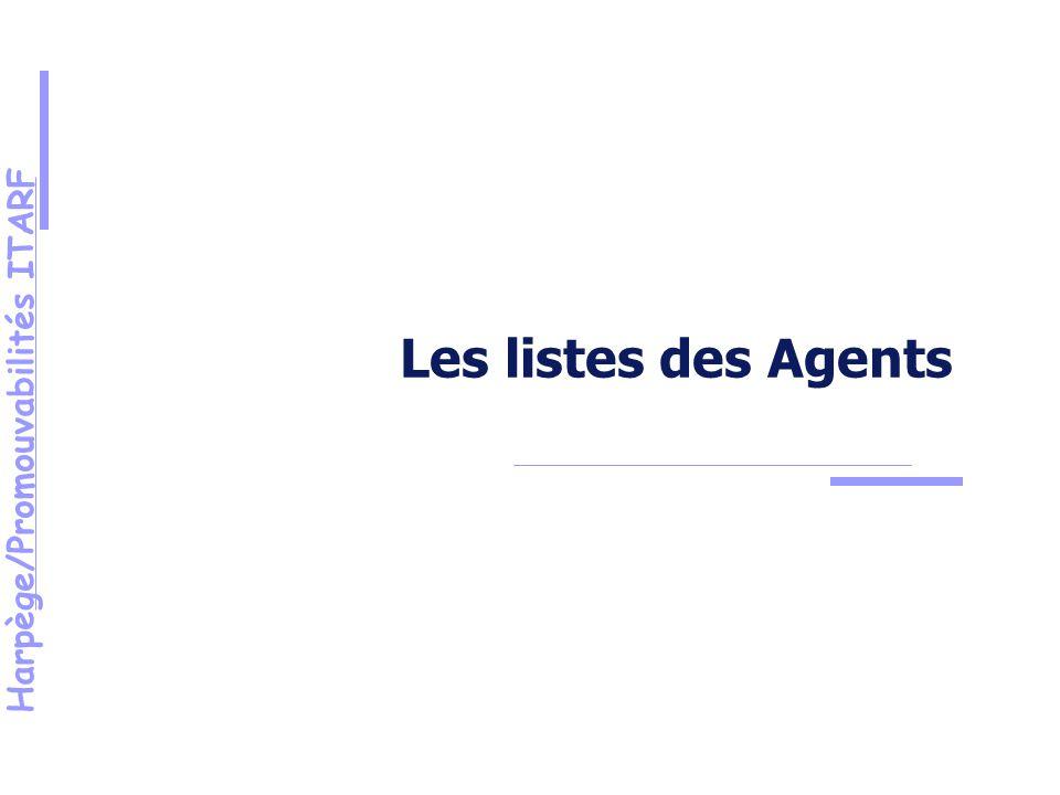 Harpège/Promouvabilités ITARF Les listes des Agents