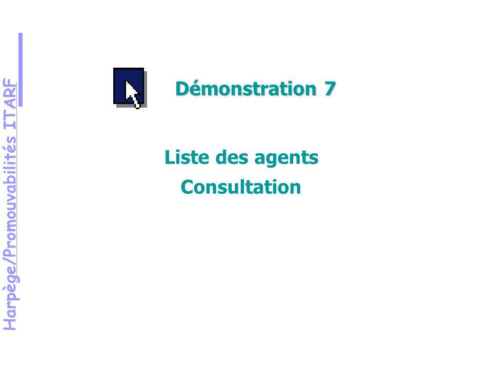 Harpège/Promouvabilités ITARF Démonstration 7 Liste des agents Consultation