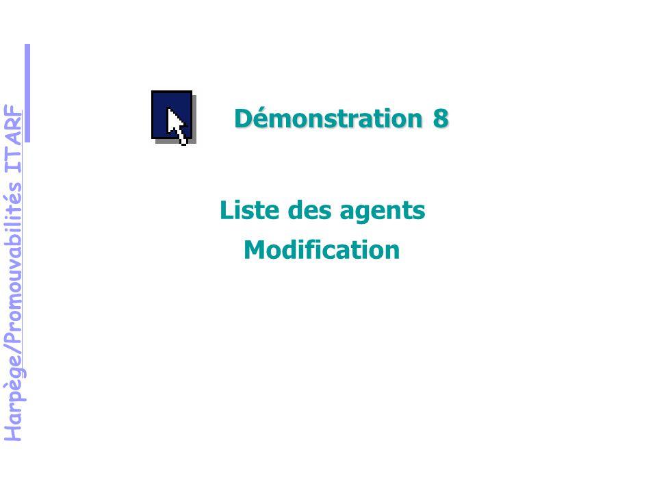 Harpège/Promouvabilités ITARF Démonstration 8 Liste des agents Modification