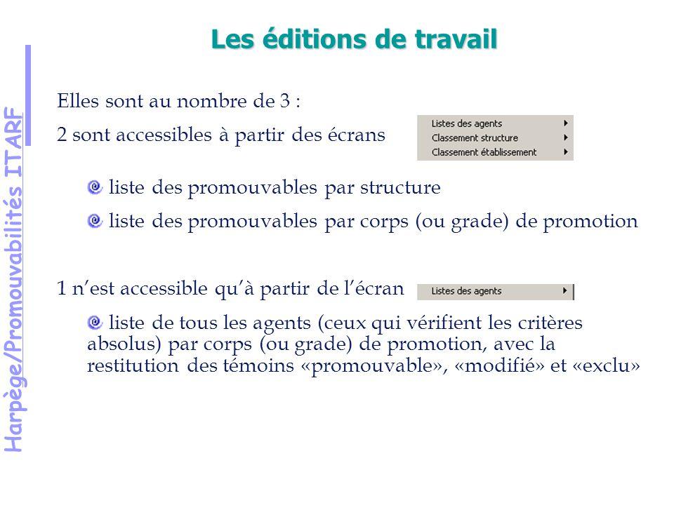 Harpège/Promouvabilités ITARF Elles sont au nombre de 3 : 2 sont accessibles à partir des écrans liste des promouvables par structure liste des promouvables par corps (ou grade) de promotion 1 nest accessible quà partir de lécran liste de tous les agents (ceux qui vérifient les critères absolus) par corps (ou grade) de promotion, avec la restitution des témoins «promouvable», «modifié» et «exclu» Les éditions de travail