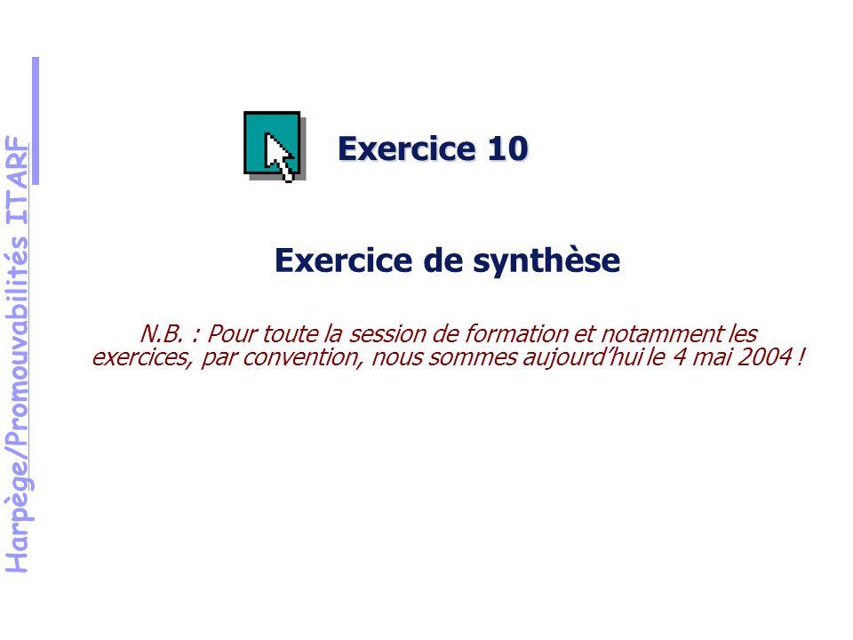 Harpège/Promouvabilités ITARF Exercice 10 Exercice de synthèse N.B.