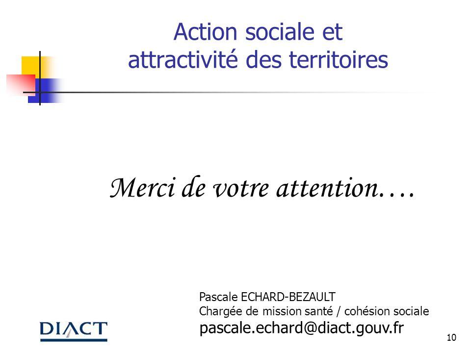 10 Action sociale et attractivité des territoires Merci de votre attention…. Pascale ECHARD-BEZAULT Chargée de mission santé / cohésion sociale pascal