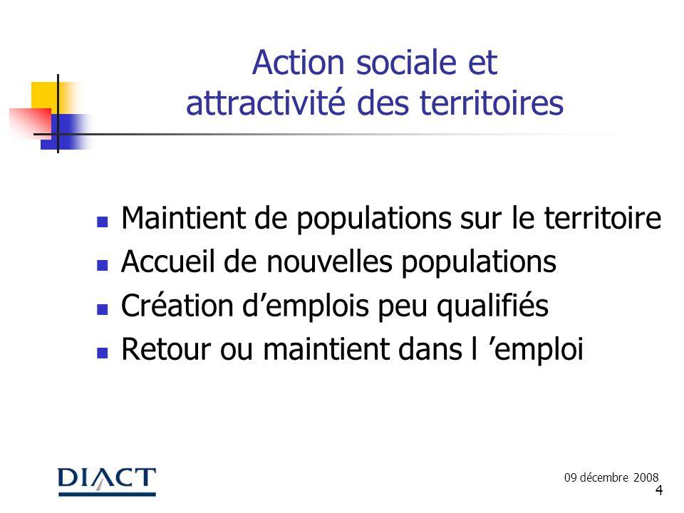 4 Action sociale et attractivité des territoires Maintient de populations sur le territoire Accueil de nouvelles populations Création demplois peu qua