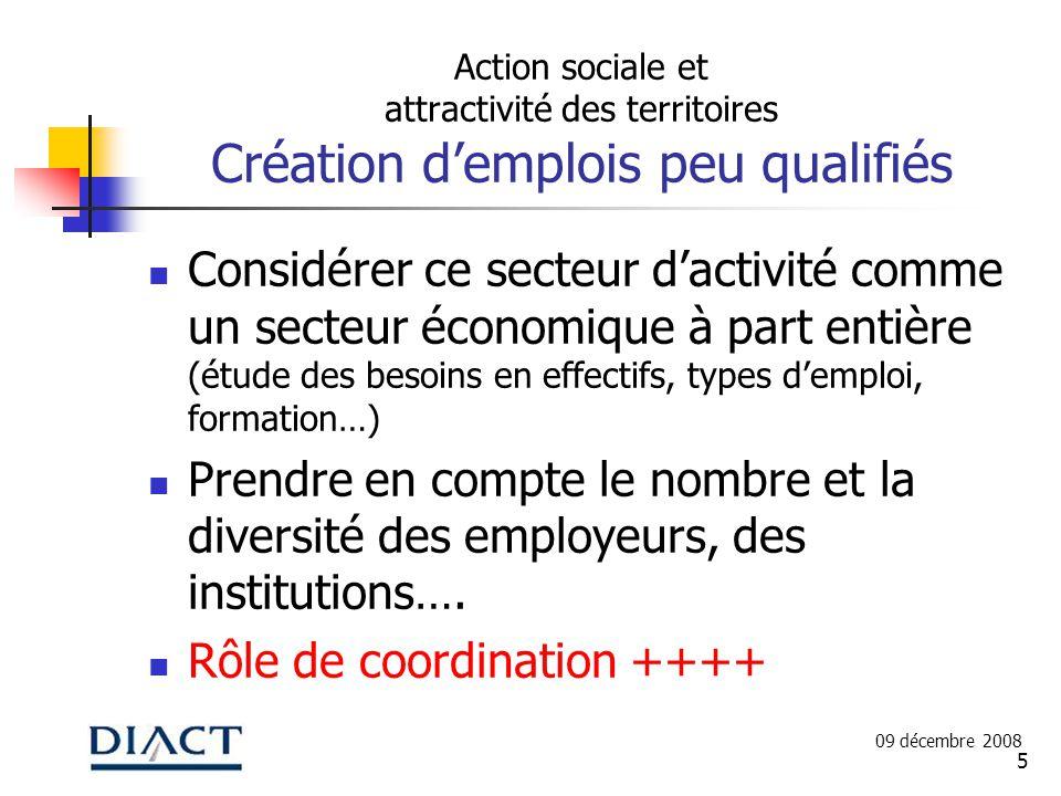 5 Action sociale et attractivité des territoires Création demplois peu qualifiés Considérer ce secteur dactivité comme un secteur économique à part en